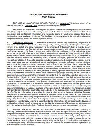 Mutual Non Disclosure Agreement in PDF