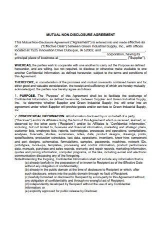 Mutual Non Disclosure Industrial Supply Agreement