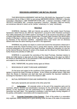 Mutual Release Rescission Agreement