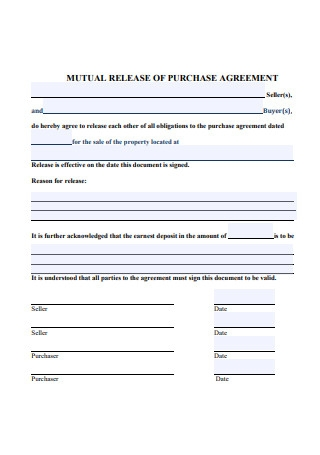 Mutual Release of Purchase Agreement