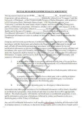 Mutual Research Confidentiality Agreement