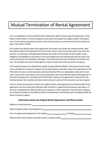 Mutual Termination of Rental Agreement