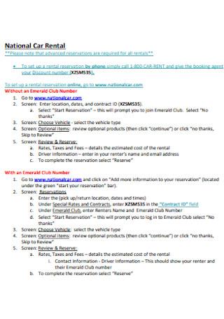National Car Rental Contract