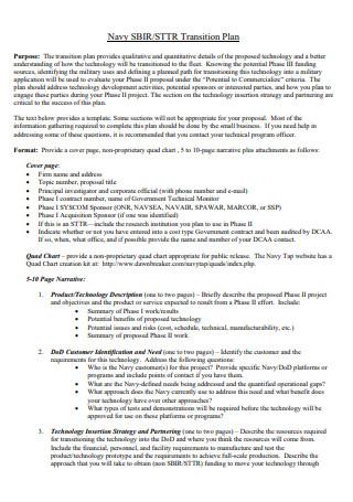 Navy Transition Plan