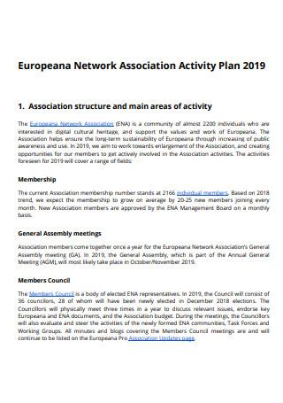 Network Association Activity Plan