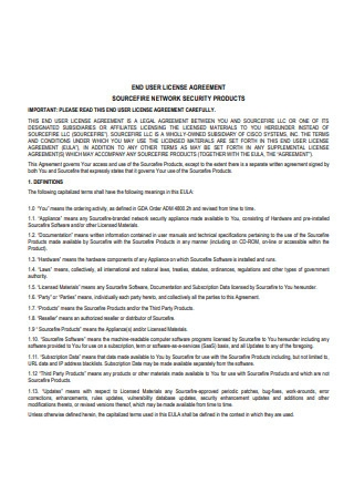 Network End User License Agreement