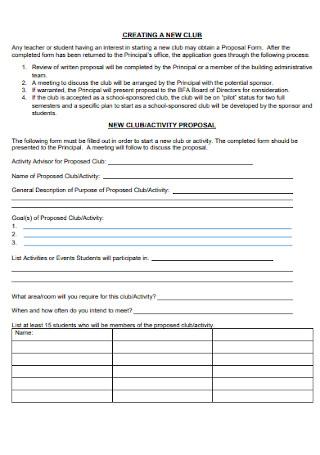 New Club Activity Proposal