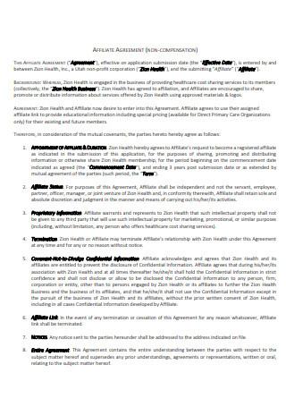 Non Compensation Affiliate Agreement