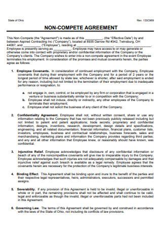 Non Compete Agreement in PDF