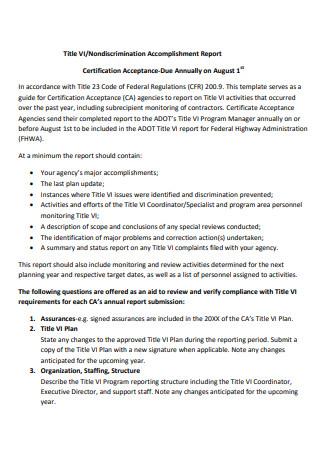 Non Discrimination Accomplishment Report