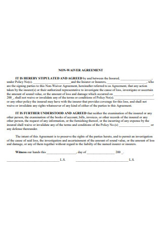 Non Waiver Agreement