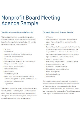Nonprofit Board Meeting Agenda