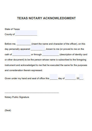 Notary Acknowledgement Example