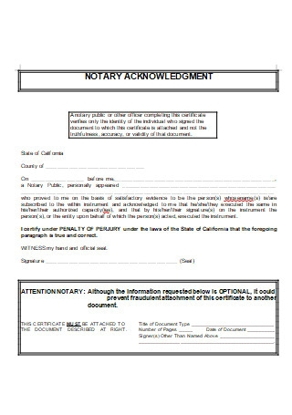 Notary Acknowledgement in DOC