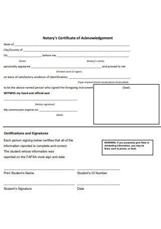 Notary Certificate of Acknowledgement