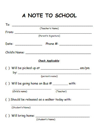 Note to School Format