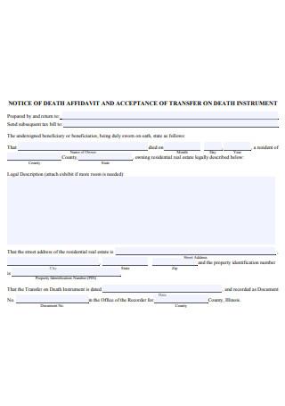 Notice of Death Affidavit