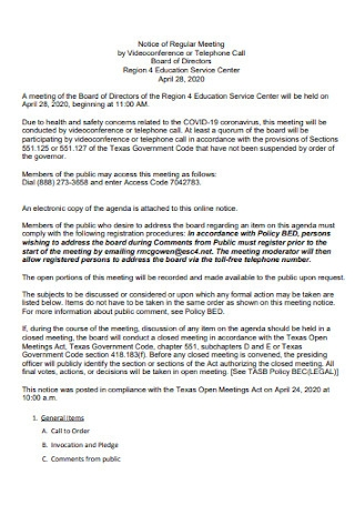 Notice of Regular Board Meeting Agenda