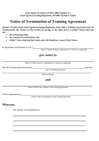 Notice of Termination of Training Agreement