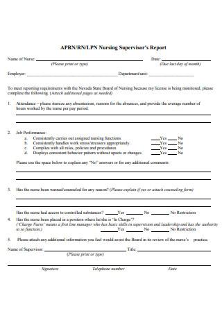 Nursing Supervisor Report
