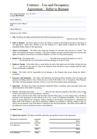 Occupancy Agreement Contract
