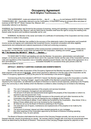 Occupancy Agreement Example