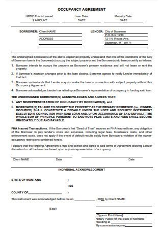 Occupancy Agreement Format