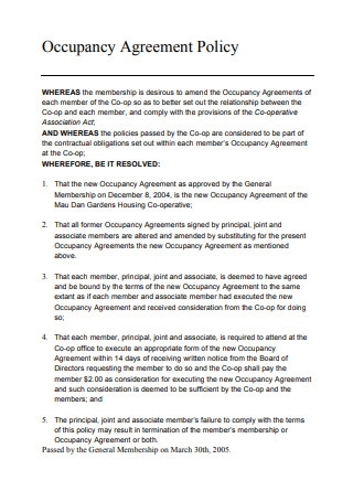 Occupancy Agreement Policy