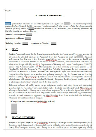 Occupancy Agreement in DOC