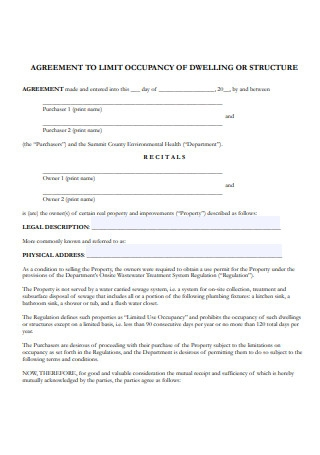 Occupancy of Dwelling Agreement