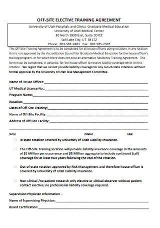 Off Site Elective Training Agreement