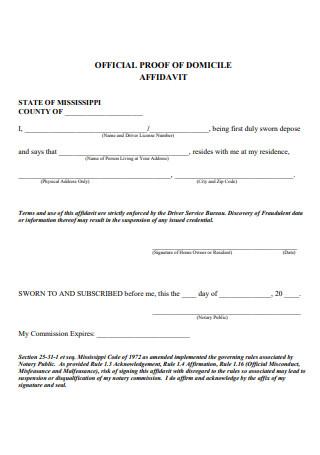 Official Proof of Affidavit Domicile