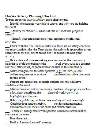 On Site Activity Planning Checklist