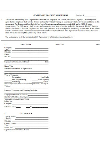 On The Job Training Agreement