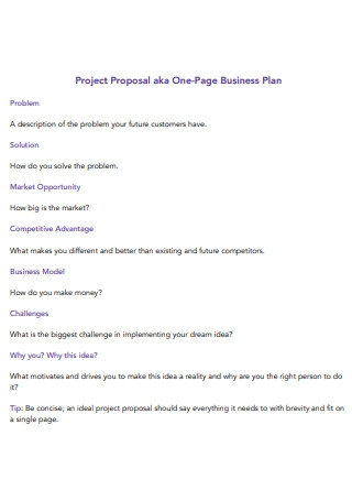 One Page Business Plan Project Proposal