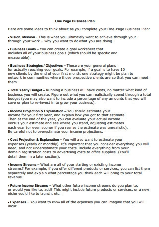One Page Business Plan in PDF