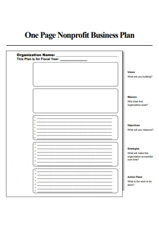 One Page Non Profit Business Plan