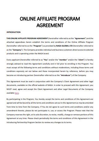 Online Affiliate Program Agreement