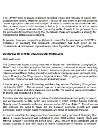 Operational Waste Management Plan