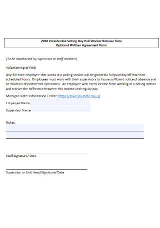 Optional Written Agreement Form