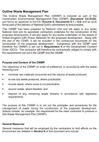 Outline Waste Management Plan