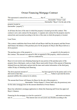 Owner Financing Mortgage Contract