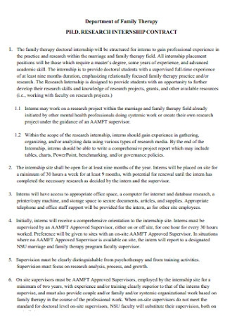 PHD Research Internship Contract