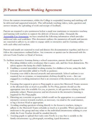 Parent Remote Working Agreement