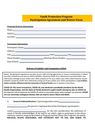 Participation Agreement and Waiver Form