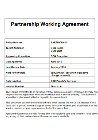 Partnership Working Agreement