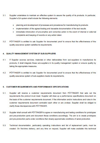 Parts Quality Assurance Agreement