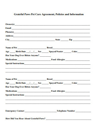 Paws Pet Care Agreement