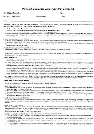 Payment Guarantee Agreement