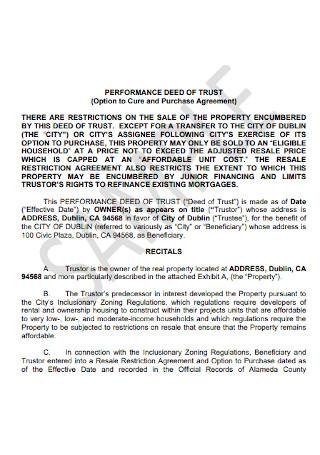 Performance Deed of Trust